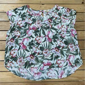 LUCY & LAUREL Women's Floral Cap Sleeve Blouse 3XL